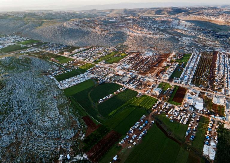 A picture shows a camp for people displaced by Syria's conflict in the town of Sarmada in northwestern Idlib province on April 13