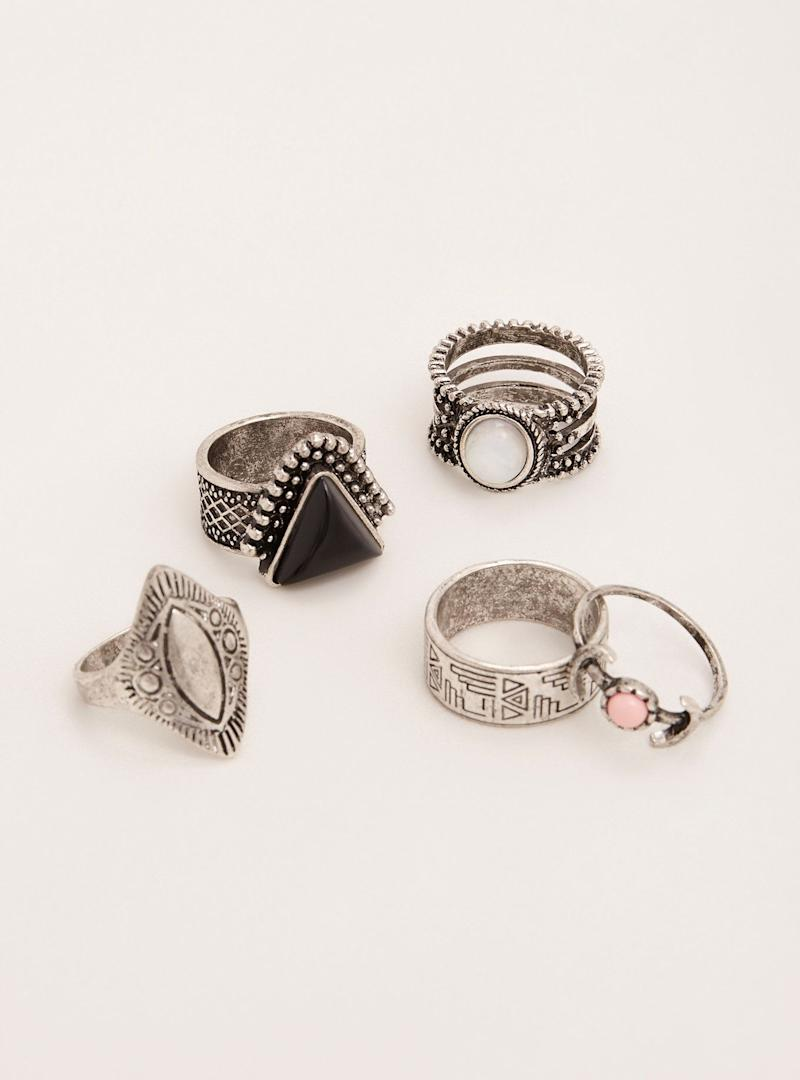 """Get the <a href=""""http://www.torrid.com/product/etched-boho-ring-set/10912728.html?cgid=accessories-jewelry"""" target=""""_blank"""">Torrid etched boho ring set</a>, $14.90"""