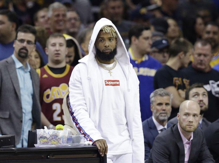 Giants receiver Odell Beckham at Game 4 of the NBA Finals. (AP)