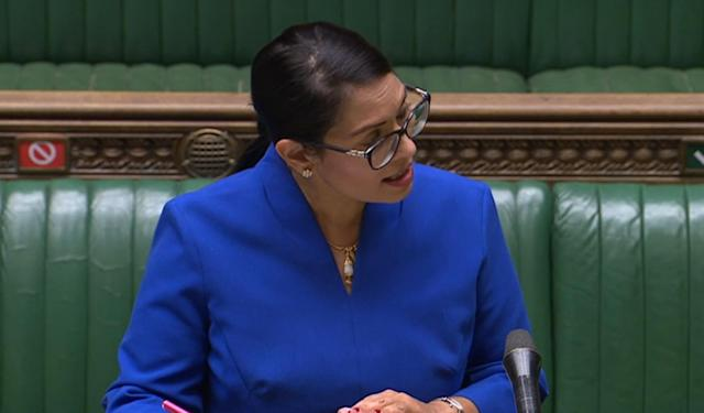 Priti Patel addressing MPs in the House of Commons on Wednesday. (PA Images via Getty Images)