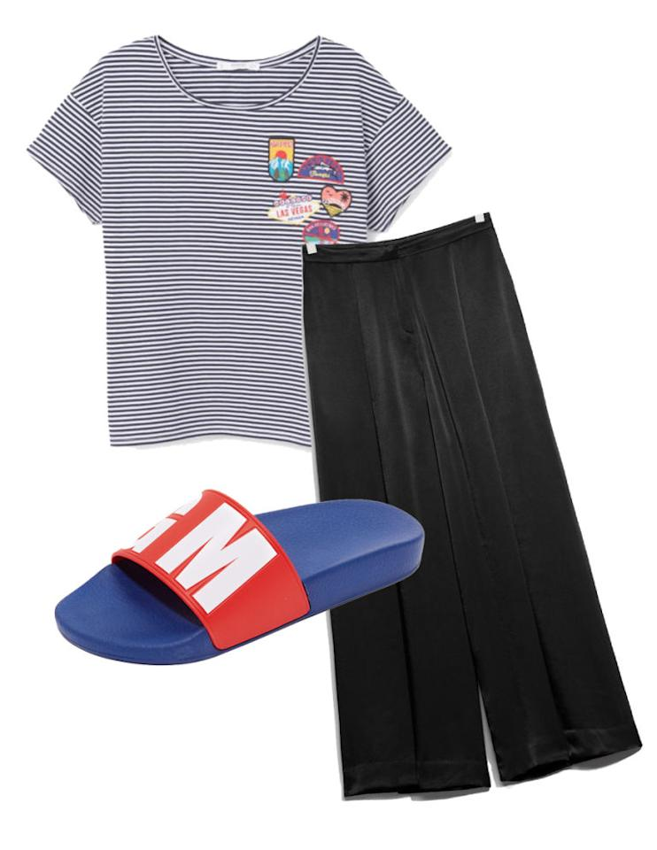 """<p>Play with proportions in a pair of wide leg trousers, a striped shirt, and colorful slip-ons. Then close your eyes, take a deep breath, and let going out or staying in choose <em>you</em>. <span></span></p><p><span>Wide Leg Trousers, $95, <a rel=""""nofollow"""" href=""""http://www.stories.com/us/Ready-to-wear/Trousers_Shorts/Wide-Leg_Trouser/582932-104859973.1""""><u>stories.com</u></a>; Decorative Patches T-Shirt, $20, <a rel=""""nofollow"""" href=""""http://shop.mango.com/US/p0/women/clothing/t-shirts/short-sleeve/decorative-patches-t-shirt?id=83005547_56&n=1&s=prendas.camisetas""""><u>shop.mango.com</u></a>; Debossed Pool Slides by MSGM, $120, <a rel=""""nofollow"""" href=""""https://www.shopbop.com/debossed-pool-slide-msgm/vp/v=1/1570349877.htm?folderID=2534374302206631&fm=other-shopbysize-viewall&os=false&colorId=64936""""><u>shopbop.com</u></a>.<span></span><br></span></p>"""