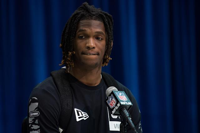 INDIANAPOLIS, IN - FEBRUARY 25: Oklahoma wide receiver Ceedee Lamb answers questions from the media during the NFL Scouting Combine on February 25, 2020 at the Indiana Convention Center in Indianapolis, IN. (Photo by Zach Bolinger/Icon Sportswire via Getty Images)