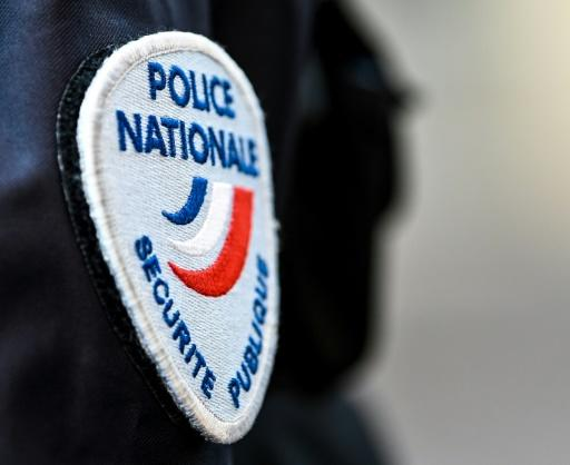 This photo shows the badge of a French police officer in Lille, northern France