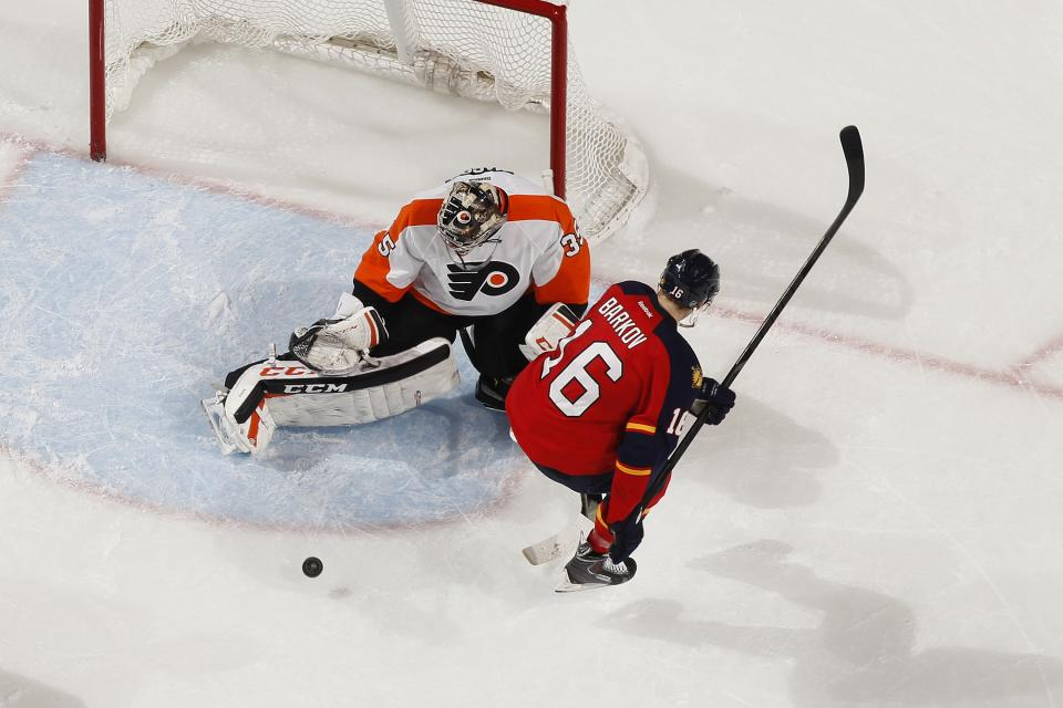 SUNRISE, FL - NOVEMBER 25: Goaltender Steve Mason #35 of the Philadelphia Flyers stops a shot by Aleksander Barkov #16 of the Florida Panthers at the BB&T Center on November 25, 2013 in Sunrise, Florida. The Panthers defeated the Flyers 3-1. (Photo by Joel Auerbach/Getty Images)