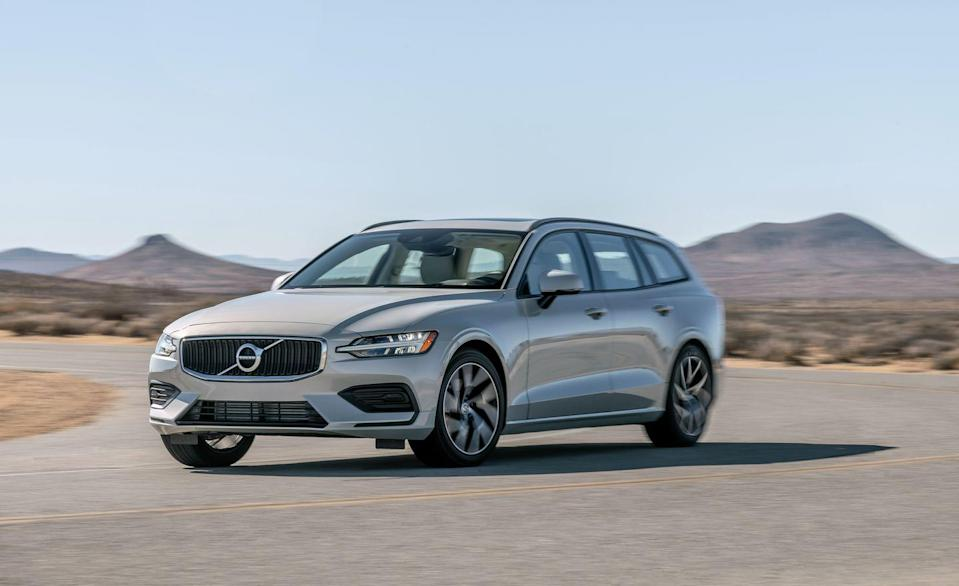 """<p>Broad shouldered with sharp speed lines and longitudinal-engine proportions, the V60 is another affirmation of Volvo's current design language. But the engine actually rides parallel to the front axle on the brand's Scalable Product Architecture, which the V60 shares with <a href=""""https://www.caranddriver.com/volvo/s60"""" rel=""""nofollow noopener"""" target=""""_blank"""" data-ylk=""""slk:the S60 sedan"""" class=""""link rapid-noclick-resp"""">the S60 sedan</a> and <a href=""""https://www.caranddriver.com/volvo/v90"""" rel=""""nofollow noopener"""" target=""""_blank"""" data-ylk=""""slk:the larger V90 wagon"""" class=""""link rapid-noclick-resp"""">the larger V90 wagon</a> as well as Volvo's popular XC60 and XC90 SUVs.</p>"""