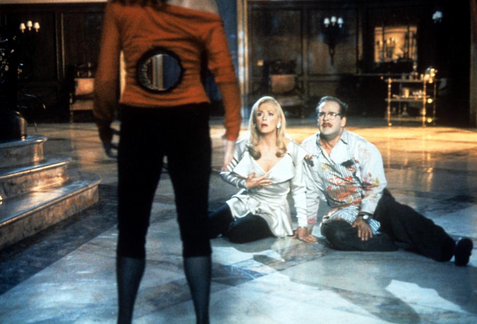 Meryl Streep and Bruce Willis sitting on the floor shock at what they see in a scene from the film 'Death Becomes Her', 1992. (Photo by Universal Pictures/Getty Images)
