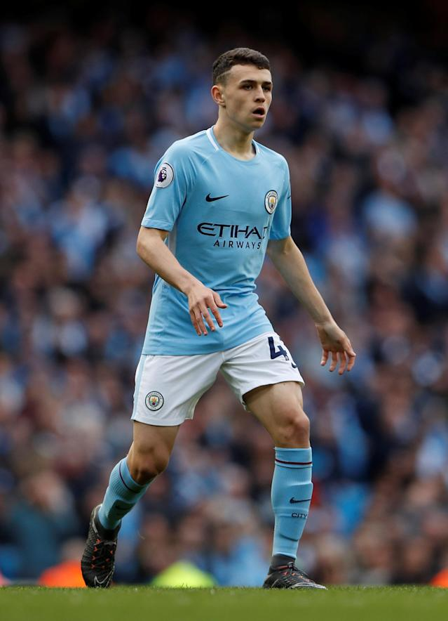 "Soccer Football - Premier League - Manchester City v Swansea City - Etihad Stadium, Manchester, Britain - April 22, 2018 Manchester City's Phil Foden Action Images via Reuters/Lee Smith EDITORIAL USE ONLY. No use with unauthorized audio, video, data, fixture lists, club/league logos or ""live"" services. Online in-match use limited to 75 images, no video emulation. No use in betting, games or single club/league/player publications. Please contact your account representative for further details."