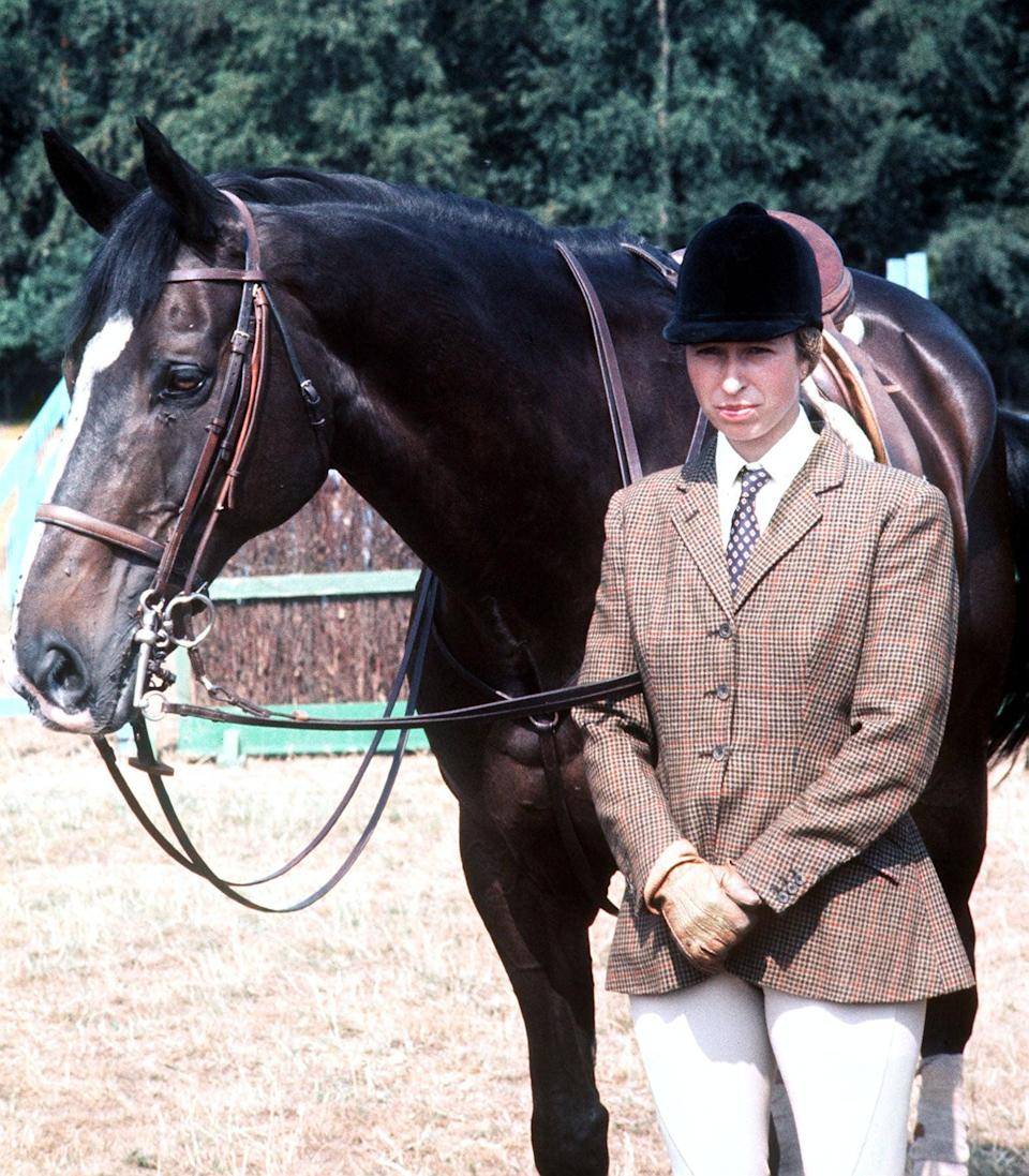 Princess Anne with the Queen's horse, Goodwill during a break in training with the British Olympic team for the three-day event at the Montreal Olympic Games in Canada in 1976 (PA) (PA Archive)