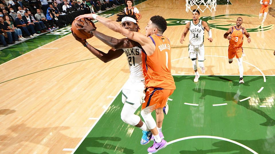 Devin Booker was not called for the foul on this play on Jrue Holiday, which came at a crucial moment late in game four of the NBA Finals.