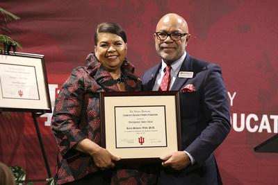 President Karen Schuster Webb, Ph.D. and Dean Lemuel Watson of Indiana University's School of Education. Photo by IU Art Director Marie Canning.