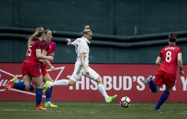Germany's forward Anja Mittag kicks in the first goal against England during the She Believes Cup at RFK Stadium March 7, 2017 in Washington, DC
