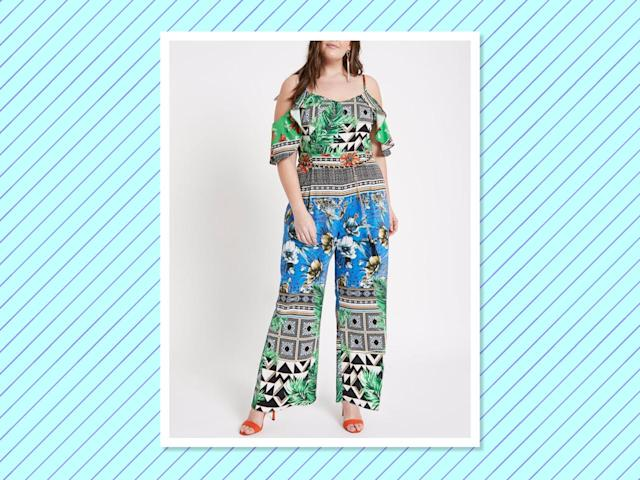 "<p>Plus Green Scarf Print Bardot Jumpsuit, $150, <a href=""https://us.riverisland.com/p/plus-green-scarf-print-bardot-jumpsuit-716462"" rel=""nofollow noopener"" target=""_blank"" data-ylk=""slk:riverisland.com"" class=""link rapid-noclick-resp"">riverisland.com </a> </p>"