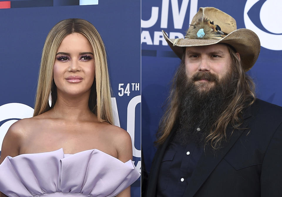 In this combination photo, Maren Morris, left, and Chris Stapleton arrive at the 54th annual Academy of Country Music Awards in Las Vegas. on April 7, 2019. Morris and Stapleton lead the nominations for this year's Academy of Country Music Awards. The academy announced on Friday that Morris and Stapleton both had six nominations ahead of the April 18 awards show, which will air on CBS from Nashville, Tennessee. (Photos by Jordan Strauss/Invision/AP)