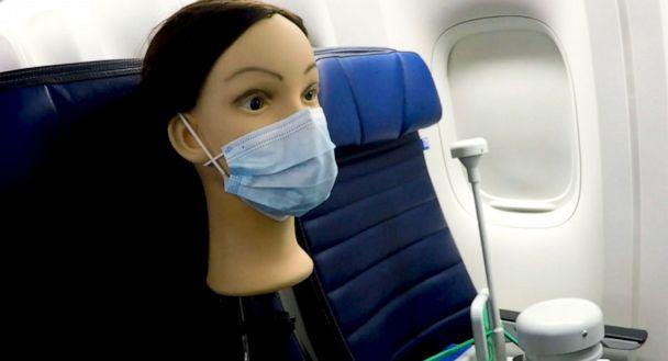 PHOTO: The U.S. Department of Defense published a study Wednesday on cabin airflow that found when a passenger is seated and wearing a mask, only 0.001% of infected air particles could enter their breathing zone. (United Airlines)