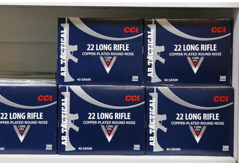 FILE - In this photo June 11, 2019, file photo boxes of .22 caliber ammunition are displayed for sale at the Foothill Ammo store in Shingle Springs, Calif. The California Rifle & Pistol Association on Monday, July 22, 2019, asked San Diego-based U.S. District Judge Roger Benitez to block a new law requiring background checks on ammunition buyers and related restrictions on ammo sales. Voters approved tightening California's already strict firearms laws in 2016, but the restrictions took effect July 1. (AP Photo/Rich Pedroncelli, File)