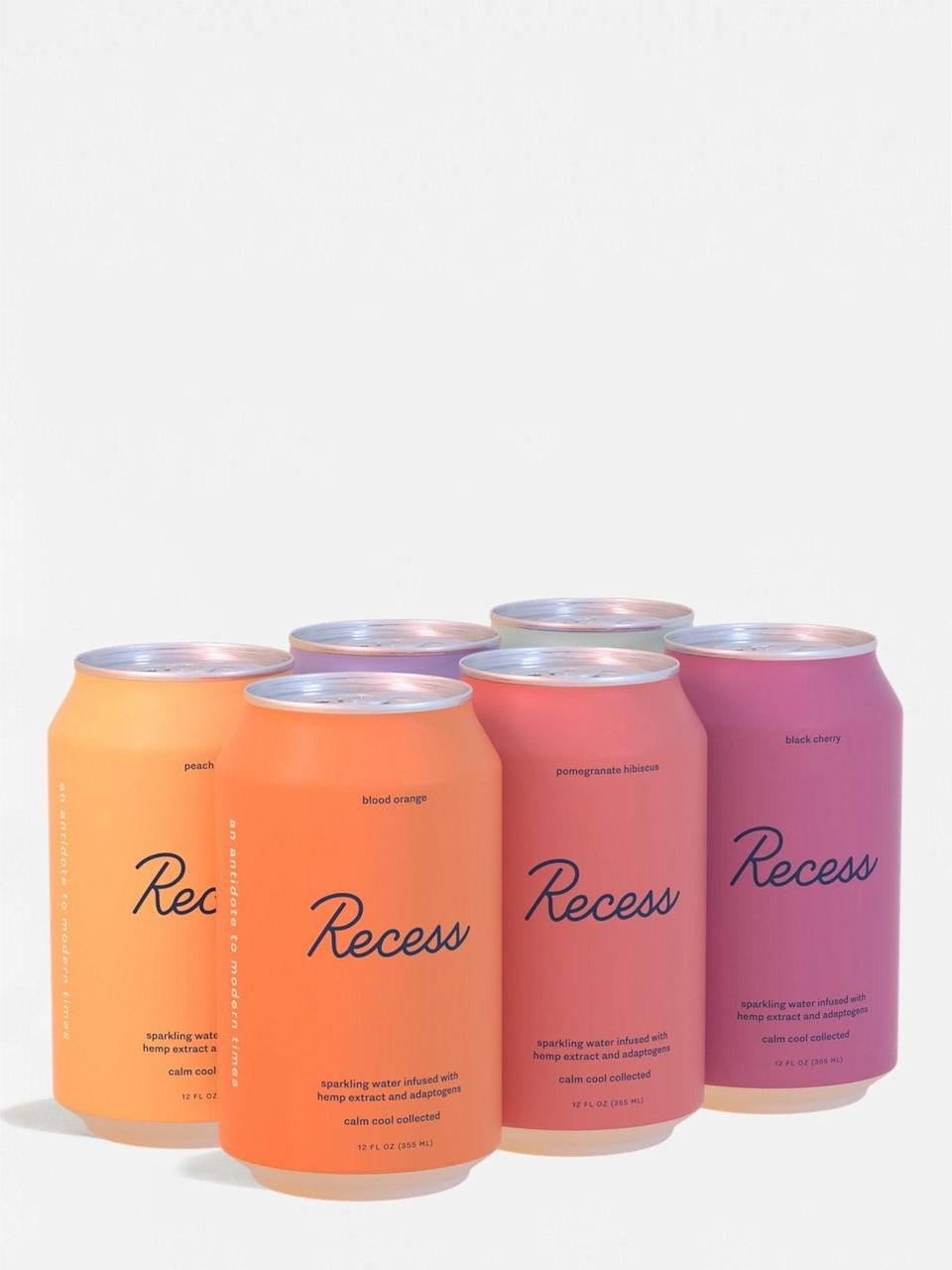 """<h2>Recess Variety Sampler</h2><br>Infused with CBD, Recess's sampler pack is brimming with six flavors of balanced, bubbly, tasty fun—no booze necessary. <br><br><strong>Recess</strong> Recess Variety Sampler, $, available at <a href=""""https://go.skimresources.com/?id=30283X879131&url=https%3A%2F%2Fstandarddose.com%2Fcollections%2Fplant-based-drinks%2Fproducts%2Frecess-variety-sampler"""" rel=""""nofollow noopener"""" target=""""_blank"""" data-ylk=""""slk:Standard Dose"""" class=""""link rapid-noclick-resp"""">Standard Dose</a>"""