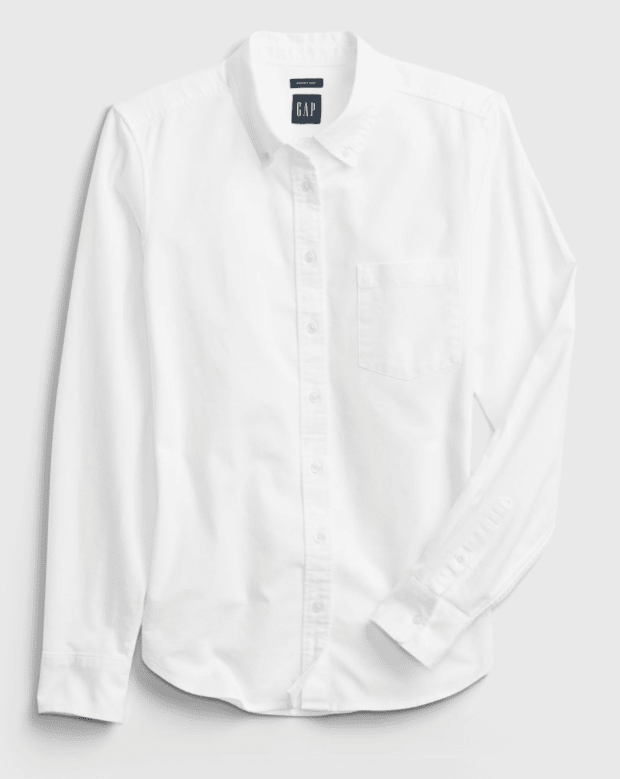 """<p>Gap Perfect Shirt, $39 (from $50), <a href=""""https://rstyle.me/+AQL0hCM0EkDBq_VYQTk6yw"""" rel=""""nofollow noopener"""" target=""""_blank"""" data-ylk=""""slk:available here"""" class=""""link rapid-noclick-resp"""">available here</a> (sizes XS-XXL)</p>"""