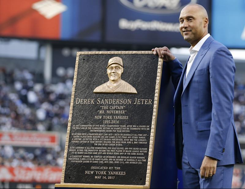 No Yankee will ever wear No. 2 again after Derek Jeter's induction to Monument Park at Yankee Stadium. (AP Photo/Kathy Willens, Pool)