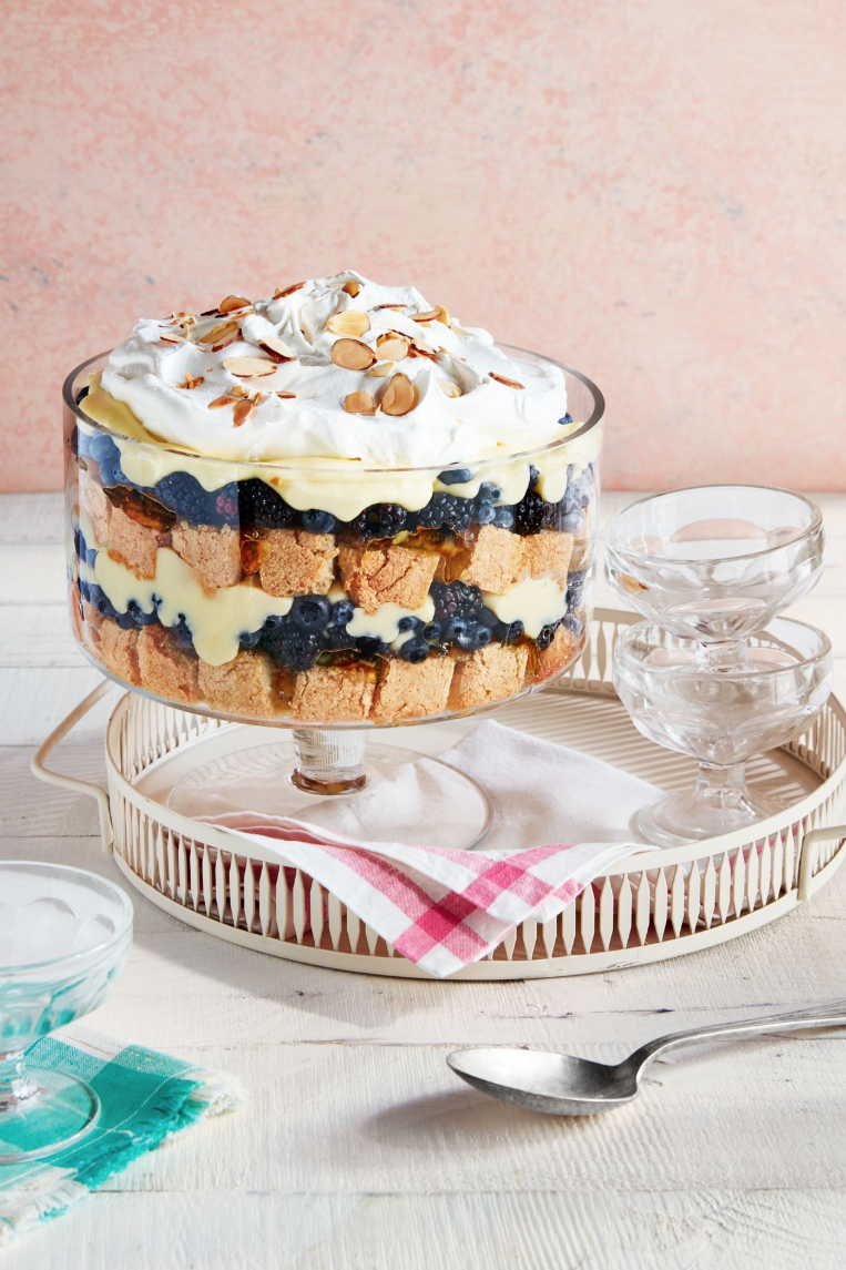 """<p>Layer decadent homemade custard, warm sponge cake, and fresh berries to create this delicious trifle that will please any crowd.</p><p><strong><a href=""""https://www.countryliving.com/food-drinks/a29643401/fruit-and-nut-trifle-recipe/"""" rel=""""nofollow noopener"""" target=""""_blank"""" data-ylk=""""slk:Get the recipe"""" class=""""link rapid-noclick-resp"""">Get the recipe</a>.</strong> </p>"""