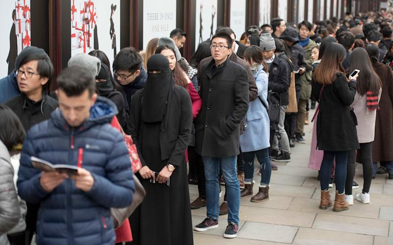Shoppers queue outside Harrods for its winter sale  - Paul Grover