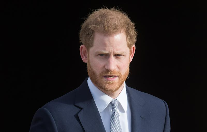 LONDON, ENGLAND - JANUARY 16: Prince Harry, Duke of Sussex hosts the Rugby League World Cup 2021 draws for the men's, women's and wheelchair tournaments at Buckingham Palace on January 16, 2020 in London, England. (Photo by Samir Hussein/WireImage)