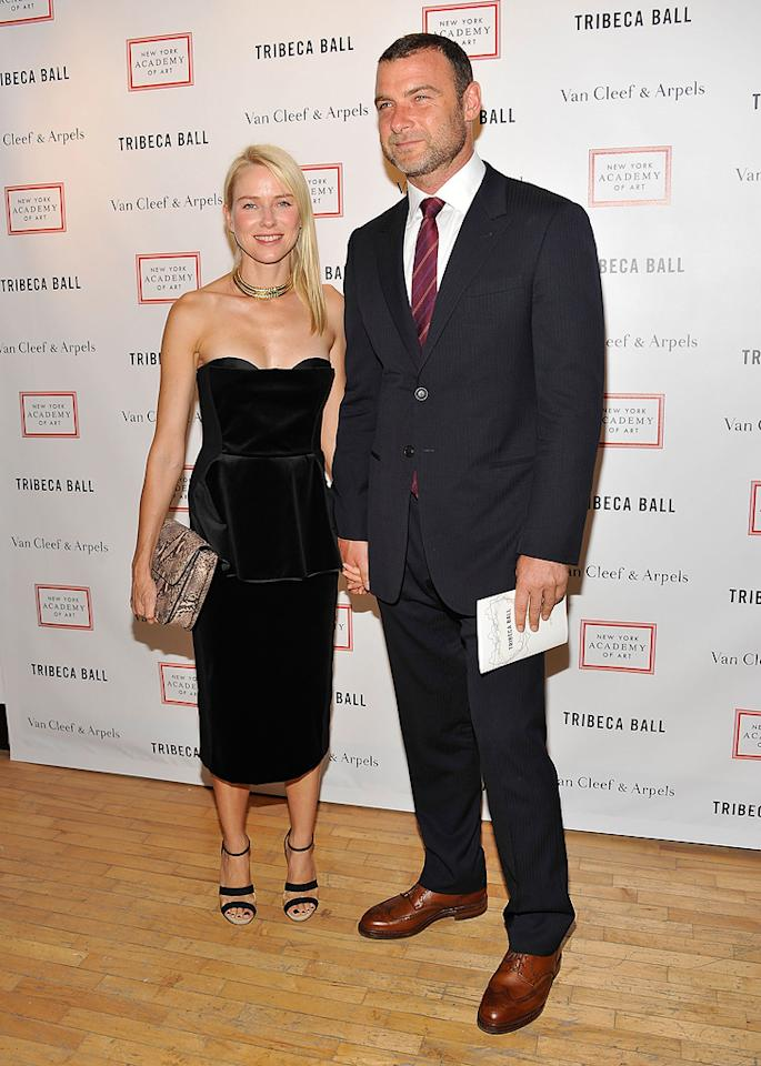 Naomi Watts and Liev Schreiber attend the 2012 Tribeca Ball in New York City, NY.