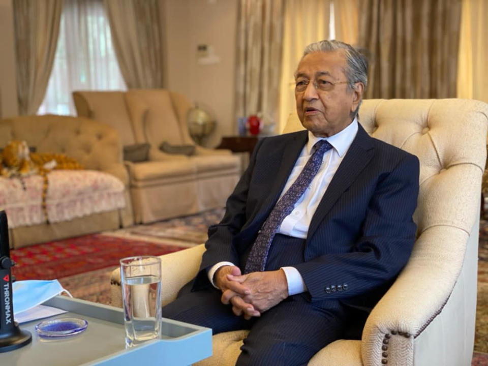 The former prime minister said in a virtual conference that his party was focused on addressing Malaysia's Covid-19 pandemic within the framework of the National Recovery Council. — Picture courtesy of Tun Dr Mahathir Mohamad's Office