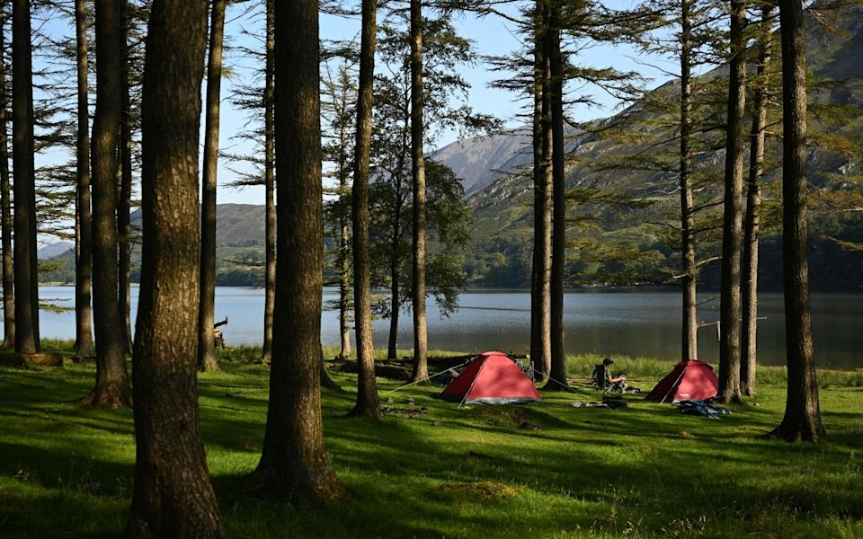 Campers over the weekend at Buttermere Lake, in the Lake District - Getty