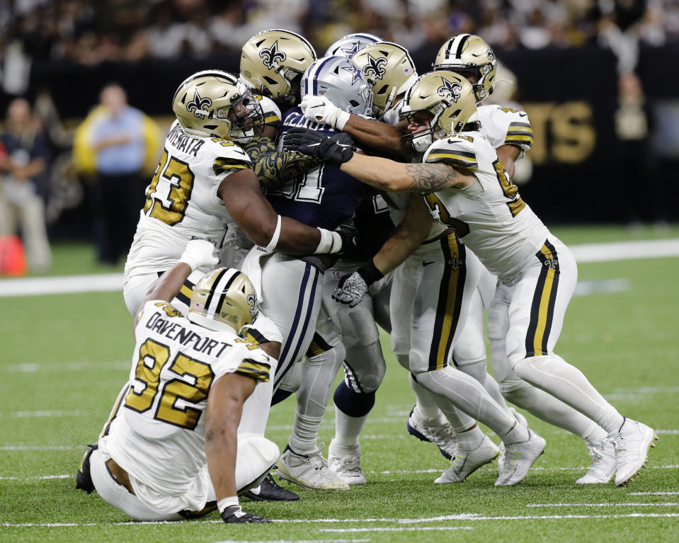 Dallas Cowboys running back Ezekiel Elliott was held in check by the Saints. (Getty Images)