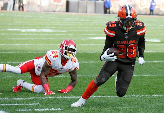 Cleveland Browns running back Duke Johnson has requested a trade according to a report. (AP)