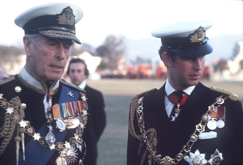 The Prince of Wales and Lord Mountbatten, wearing full naval uniform, visited Nepal in 1975 to attend the coronation of King Birendra. (Photo by Anwar Hussein/WireImage)