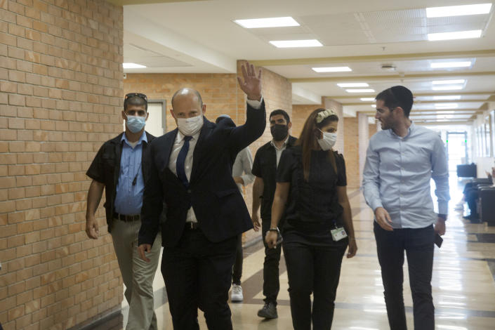 Naftali Bennett, an Israeli parliament member from the Yamina party, arrives to the Knesset, Israel's Parliament, Monday, June 7, 2021. (AP Photo/Maya Alleruzzo, Pool)