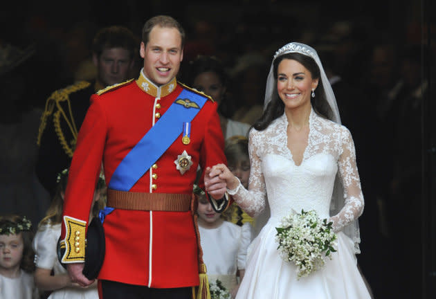 Prince William and Catherine, Duchess of Cambridge, are seen walking after their wedding ceremony in Westminster Abbey in central London, April 29, 2011.