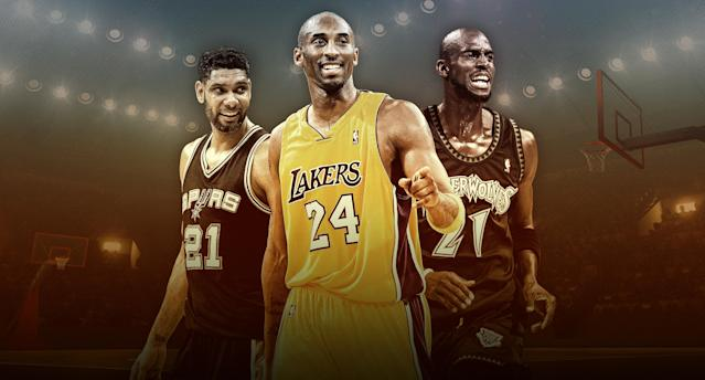 Tim Duncan, Kobe Bryant and Kevin Garnett form arguably the greatest Hall of Fame class in basketball history. (Yahoo Sports illustration)