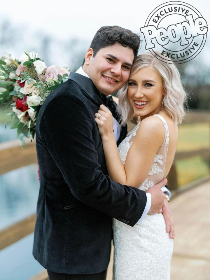 """Maddie & Tae's <a href=""""http://people.com/tag/maddie-marlow"""">Maddie Marlow</a> married her high school sweetheart, Jonah Font, at <a href=""""https://sycamorefarmsevents.com/"""">The Barn at Sycamore Farms</a> in Arrington, Tennessee on Nov. 22.  """"We both can't hold back happy tears,"""" she said. """"It's been eight years of knowing this was our goal and the fact that it's finally here is so exciting and very emotional."""""""