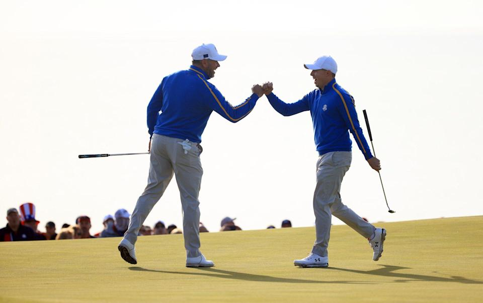 Lee Westwood and Matt Fitzpatrick played well but fell to a 2&1 defeat - GETTY IMAGES