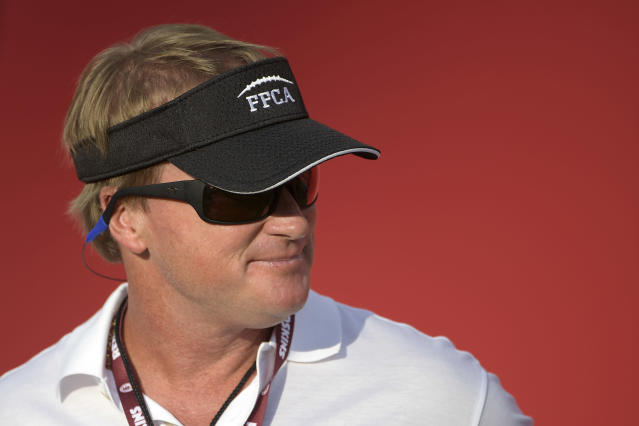 ESPN broadcaster and former head coach Jon Gruden could be pursued by the Raiders to get back into coaching. (AP)