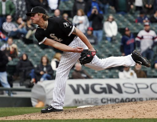 Chicago White Sox relief pitcher Addison Reed delivers against the Cleveland Indians during the ninth inning of a baseball game Wednesday, April 24, 2013, in Chicago. (AP Photo/Charles Rex Arbogast)