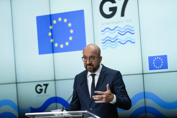 European Council President Charles Michel speaks during a joint news conference with European Commission President Ursula von der Leyen ahead of the G7 summit, at the EU headquarters in Brussels, Thursday, June 10, 2021. Charles Michel and Ursula von der Leyen will attend the G7 summit in Cornwall, southwest England. (AP Photo/Francisco Seco, Pool)
