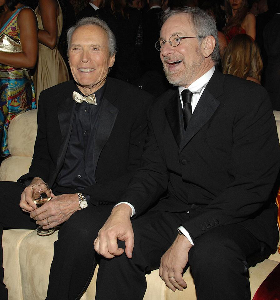 """<a href=""""/clint-eastwood/contributor/28776"""">Clint Eastwood</a> and <a href=""""/steven-spielberg/contributor/28483"""">Steven Spielberg</a> at the In Style and Warner Bros. 2007 Golden Globe After Party."""