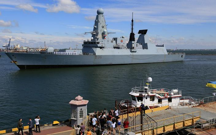 HMS Defender arrives at the Black Sea port of Odessa yesterday - Reuters