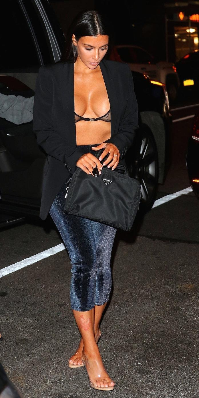 <p>The reality star stepped out for a quick bite in NYC in an unconventional pairing: a blazer and blue velvet leggings. She wore a Gucci bralette under her blazer to top off the outfit. Leave it to Kardashian West to make these different pieces work in one look.</p>