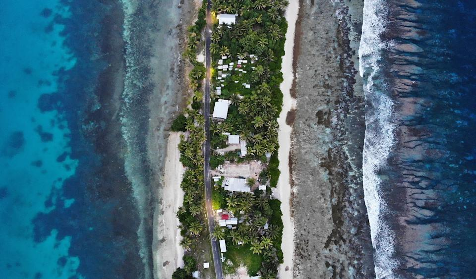 Rising sea levels threaten the coral atoll nation of Tuvalu and other Pacific island nations. Source: Getty