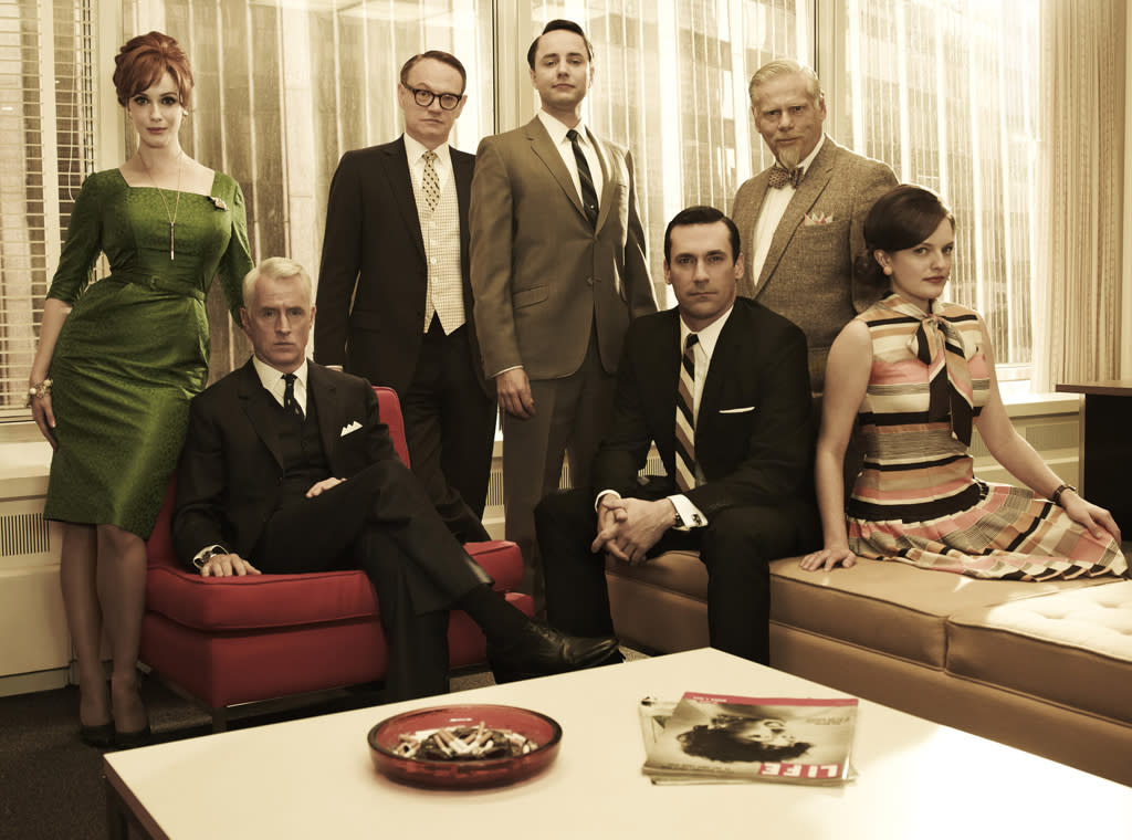 "The cast of ""<a target=""_blank"" href=""http://tv.yahoo.com/mad-men/show/39828"">Mad Men</a>."""