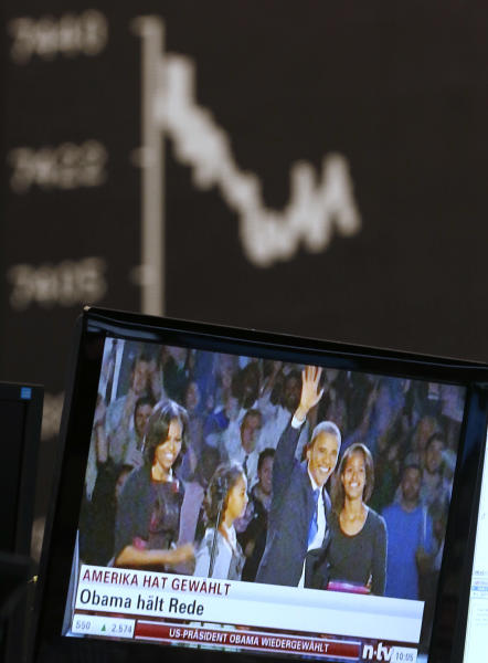 The curve of the German stock index DAX is pictured as news about the US elections appear on a television screen at the stock market in Frankfurt, Germany, Wednesday, Nov. 7, 2012. (AP Photo/Michael Probst)