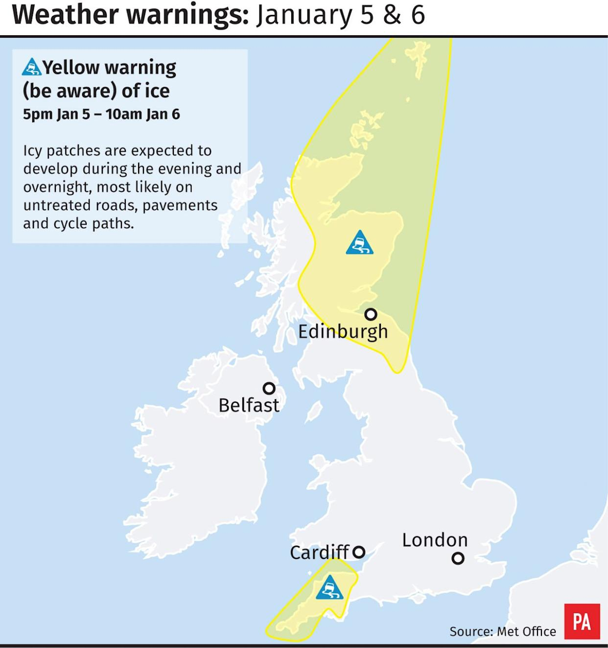 Weather warnings January 5 and 6