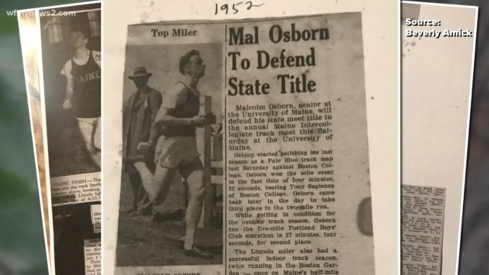 Mal Osborn received the jacket after running long-distance track and cross-country events from 1949-52 at the University of Maine. Source: WFMY-TV