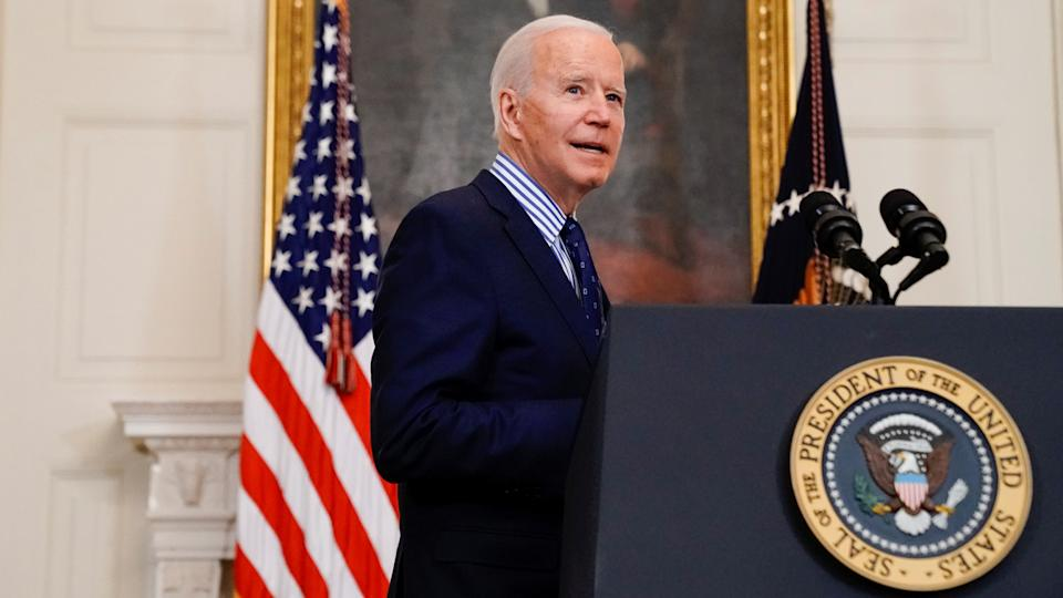 U.S. President Joe Biden makes remarks from the White House after his coronavirus pandemic relief legislation passed in the Senate, in Washington, U.S. March 6, 2021. (Erin Scott/Reuters)
