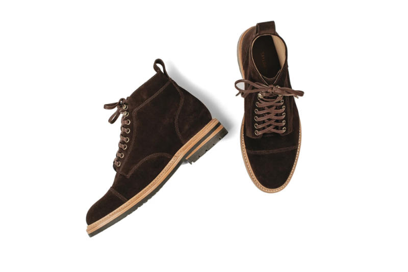 Taylor Stitch Moto Boot in Weatherproof Chocolate Suede