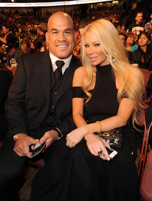 ANAHEIM, CA - NOVEMBER 12: Mixed martial arts fighter Tito Ortiz (L) and actress Jenna Jameson attend UFC on Fox: Live Heavyweight Championship at the Honda Center on November 12, 2011 in Anaheim, California. (Photo by Jason Merritt/Getty Images)